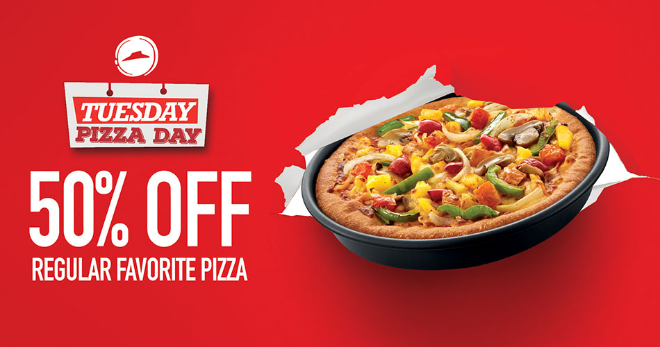 Tuesday Pizza Day - 50% Off Regular Favorite Pizza